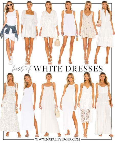 Favorite white dresses at Revolve. A few under $100 and $200! The first and seventh are my favorites. xo! 🤍🤍🤍