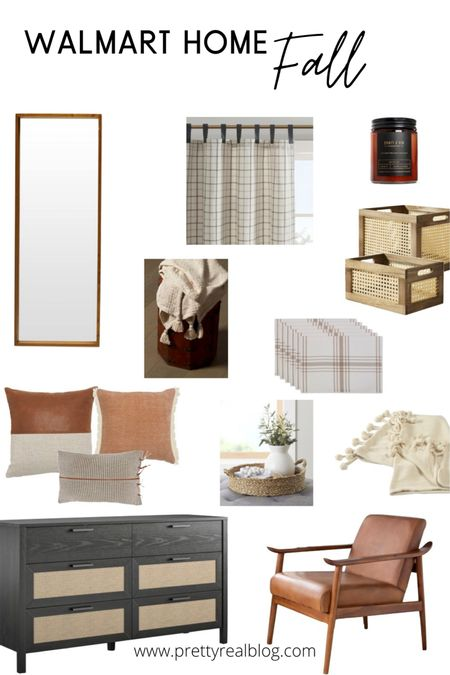 Cozy affordable finds. Throw blankets, throw pillow with leather, plaid curtains, leather chair, leather bench, rattan storage, rattan dresser, mirror, Walmart finds   #LTKhome #LTKSeasonal
