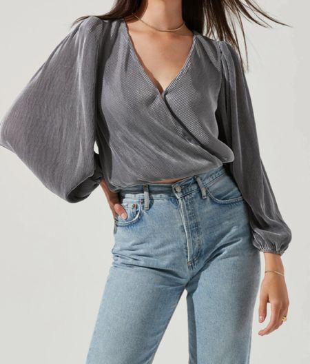 Pleated wrap blouse   #LTKSeasonal #LTKworkwear #LTKHoliday