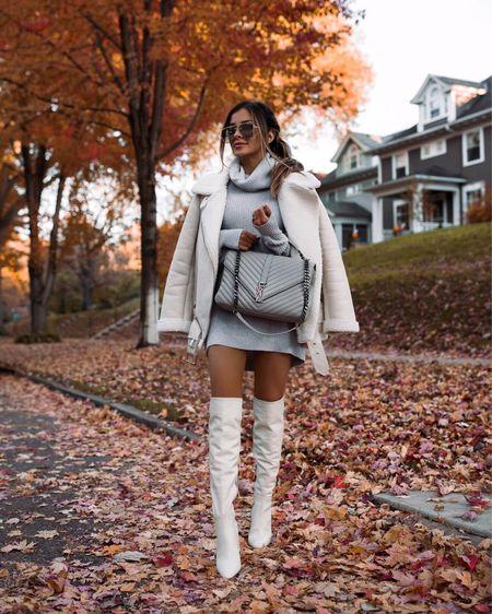 Fall outfit ideas  Similar white shearling biker jacket Gray sweater dress White knee high boots  #LTKstyletip #LTKunder100 #LTKshoecrush