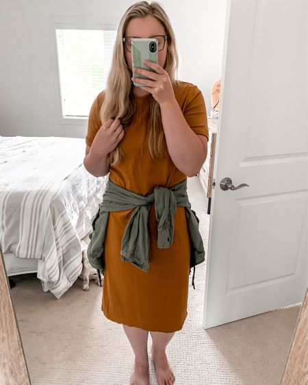 Easily give a t-shirt dress more definition by tying a jacket or long sleeve button down shirt around your waist 🤗 #LTKsalealert #LTKstyletip #LTKunder50  http://liketk.it/2Sk2r #liketkit @liketoknow.it