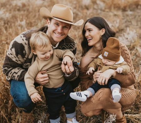 F A M \ My little Idaho fam bam🥰 Another one from our fall photo sesh! Just got em all and they're perf🍂🤍🍂 Swipe right for a look at a few of my faves! Ford in the bronco… dead🚗❤️  I'll be sharing a bunch on SBKliving.com this week and family photo sesh outfit ideas! I will include items like my cable knit sweater dress - legit a standout all time fave!! Unfortunately Luke's hat is one of a kind and his Buffalo jacket is an oldie. NOT TO WORRY, I'll post similar looks!🤠  #familyphotos #familypictures #idaho #fall #fallfashion #falloutfits   #LTKfamily #LTKstyletip #LTKSeasonal