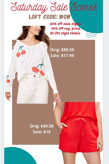 Loft Sale Cherries  Lightweight sweater Knit shorts  Casual outfits   #LTKsalealert #LTKstyletip #LTKunder50