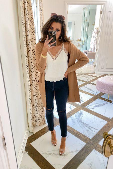 Fall, fall fashion, fall outfits, ripped jeans, emilyanngemma, Emily ann Gemma, fall sweater, white tank, ruffle tank, beige sweater http://liketk.it/2X5Jx #liketkit @liketoknow.it #LTKshoecrush #LTKsalealert #LTKunder100