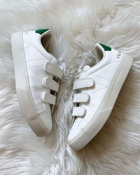 My favorite Veja sneakers right now. Love the Velcro and green detail. Fit tts as my other Veja sneakers #veja #sneakers   #LTKshoecrush