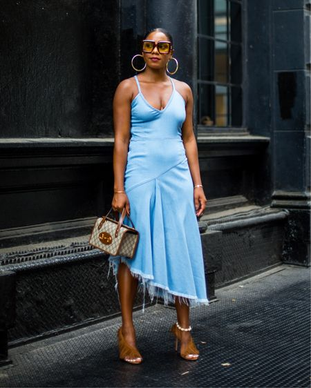 Y'all still using dating apps or nah? Sound off in the comments, I'm trying to see something.  Speaking of dates, click the link in my bio to check out the Best Date Dresses for Summer or head to fashionsteelenyc.com  OUTFIT DETAILS @marquesalmeida dress @aquazzura heels @gucci bag & sunglasses  Save & Share this post for Summer Outfit Inspiration. More details here👉🏾 http://liketk.it/3jMLI on my @liketoknow.it account. PC @dadouchic #liketkit