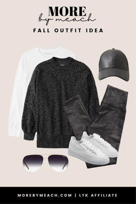 A monochromatic comfy fall outfit idea using a black leopard print sweatshirt and black faux leather leggings! || Featuring pieces by Aerie, Abercrombie, Quay, Sam Edelman.   #LTKstyletip #LTKSale #LTKSeasonal