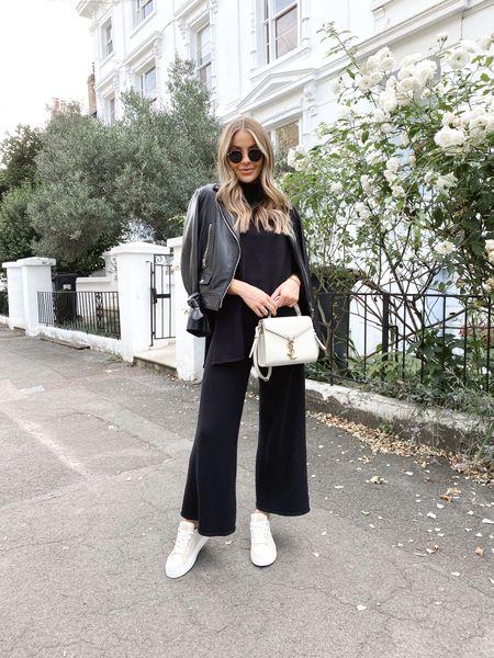 Knitwear, leather jacket, Chloe trainers, YSL