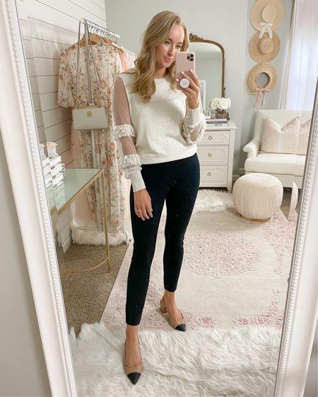 Feminine work outfit   Top- small Black pants - medium (AMANDAJOHNxSPANX for 10% off)  Sling backs - tts if between size down    http://liketk.it/2Xp63 #liketkit @liketoknow.it