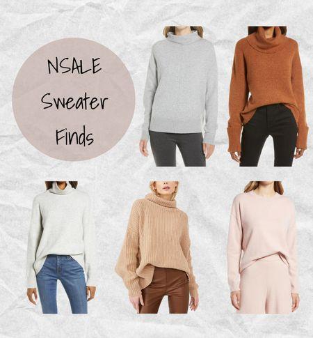 Nordstrom Anniversary Sale sweater finds: grey funnel neck sweater, rust brown turtleneck sweater, grey turtleneck sweater, tan Freepeole oversized sweater, and pink crew neck sweater 💗 #nsale  #LTKsalealert #LTKSeasonal #LTKunder100