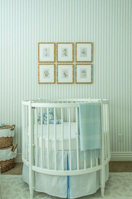 Nursery decor, blue and white nursery, baby boy nursery, gold frames, baskets.  #LTKbump #LTKfamily #LTKbaby