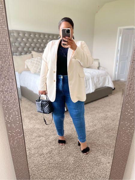 Plus size fall outfit idea, plus size body suit from Shein, plus size blazer, medium wash jeans, furry ankle strap heels, Rebecca Minkoff Edie bag  #LTKcurves #LTKstyletip