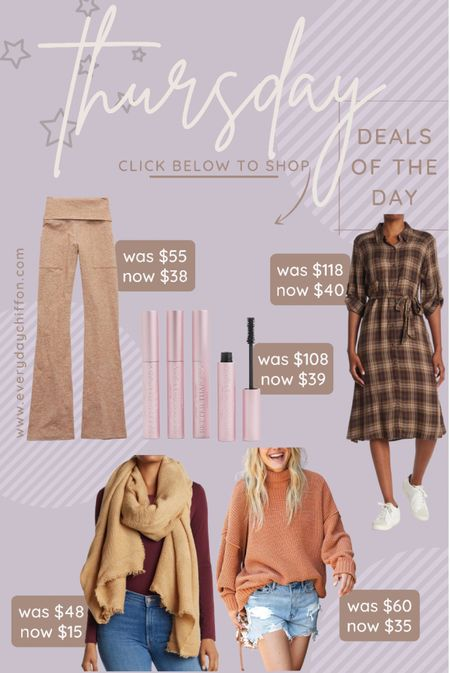 Flare leggings, yoga pants Plaid dress, midi dress, fall dress Thanksgiving day outfit, thanksgiving outfits Holiday outfits  Fall outfits Chenille sweater, oversized sweater Aerie Blanket scarf Mascara, too faced, gifts for her  #LTKHoliday #LTKbeauty #LTKSeasonal