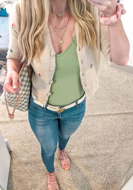 Today's casual OOTD. Sage green bodysuit, embellished cardigan, skinny jeans, tan studded sandals, white belt, gold necklaces. Amazon, Goodnight Macaroon, Vince Camuto and Kendra Scott finds.  #LTKSeasonal #LTKstyletip #LTKunder50