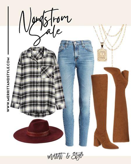 Plaid shirt on sale denim jeans over the knee boots Nordstrom sale Nsale   #LTKunder50 #LTKshoecrush #LTKstyletip