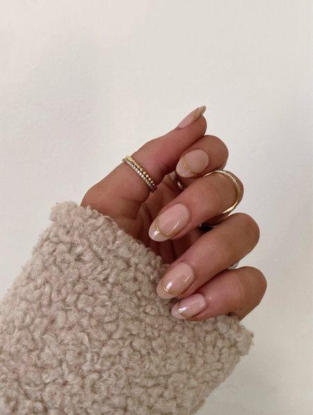 nail inspo + revolve gold dainty rings   #LTKbeauty #LTKunder50 #LTKHoliday