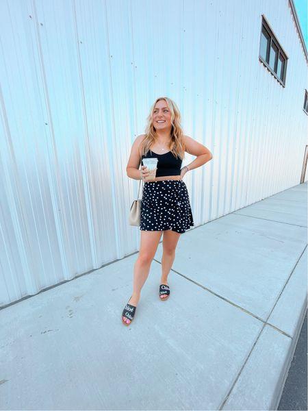 Casual outfit Ruffle skirt  Workout tank athleisure Chloe slides   #LTKunder100 #LTKstyletip #LTKshoecrush