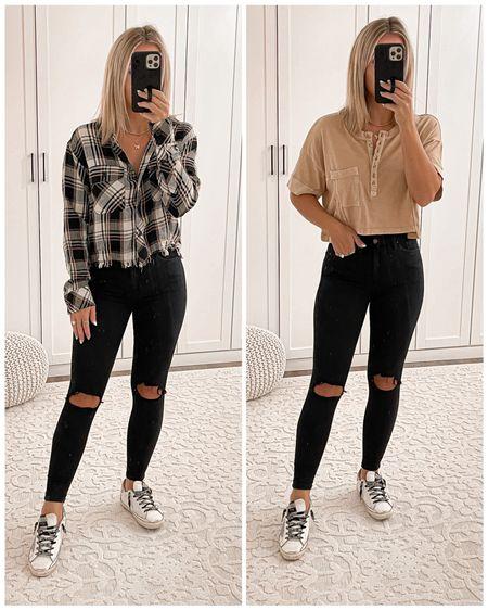 Fall outfit ideas Black skinny jeans go up size wearing size 25 Plaid shirt size small Tan Henley shirt size small Golden goose sneaker size 36  #fall #outfits #laurabeverlin   #LTKshoecrush #LTKsalealert #LTKunder50