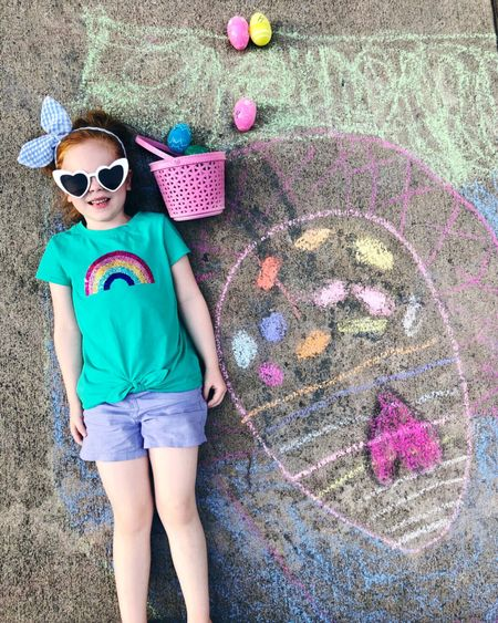 It has been so beautiful outside lately that we've been spending more time outdoors when we get home from school/work. Today Harper & Lincoln played an Easter egg toss game and then we had a sidewalk chalk Easter egg decorating contest - I couldn't resist taking this sweet photo! Harper's entire outfit is super affordable and I linked it all in the LIKEtoKNOW.it app along with some fun Easter basket gift ideas! You can visit my shop Instagram page on my blog via the link in my profile!  🌈 http://liketk.it/2BcZz #liketkit @liketoknow.it #LTKfamily #LTKkids @liketoknow.it.family