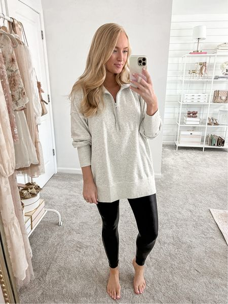 Loving in this nursing friendly zip sweatshirt! It's already very oversized but I did size up one for extra coziness. Swearing with spanx faux leather leggings. Ina size medium (my code is amandajohnxspanx for 10% off)