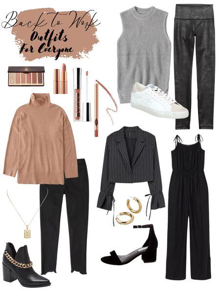 Stylish workwear ideas for the office or home! #officewear #workwear #jumpsuits #rompers #blazers #fallstyle #heels #sweaters #fulllook #leggings #fauxleather   #LTKbacktoschool #LTKSeasonal #LTKworkwear