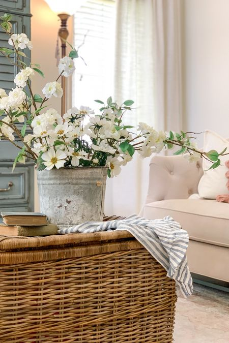 A lidded basket can make the perfect coffee table replacement for a fraction of the price and (bonus!!) it can hold (aka hide) a lot of stuff you don't want scattered about!🙌  Lidded Rattan basket with vintage bucket of faux florals create a beautiful vignette perfect for Country Chic, French Country, Cottage or Boho style!! 🌸    You can instantly shop all of my finds by following me on the LIKEtoKNOW.it shopping app     http://liketk.it/3jJXv #liketkit @liketoknow.it @liketoknow.it.home #LTKhome #LTKunder50 #LTKunder100