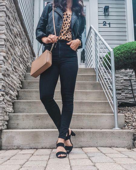 Leopard print, leopard cami, leather jacket, faux leather jacket, moto jacket, leather moto jacket, black jeans, black denim, date night outfit, girls night out, crossbody bag, Michael Kors crossbody, fall jacket, Abercrombie denim, Target, Target style, fall outfit, fall basics, leopard tank, animal print http://liketk.it/2Ez73 #liketkit @liketoknow.it #LTKstyletip #LTKunder50 #LTKshoecrush #LTKitbag #ltkfall