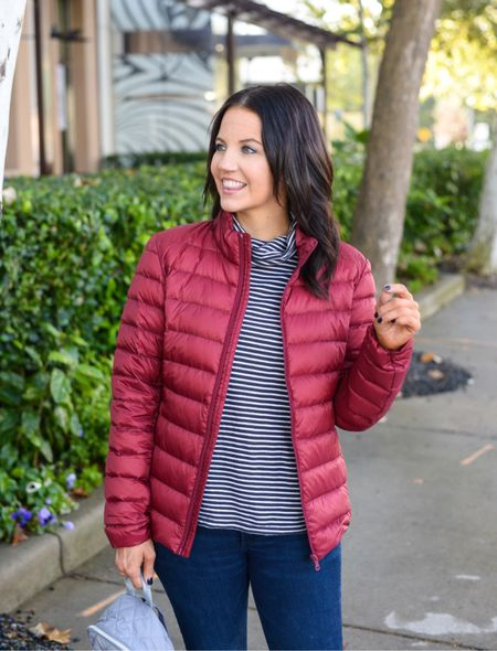 Fall outfit / dark red puffy coat / lightweight jacket / amazon fashion finds / black and white striped turtleneck top / dark gray nail polish / casual outfits   #LTKSeasonal #LTKunder50 #LTKunder100