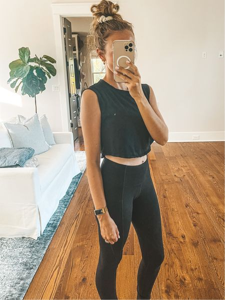 Amazon cropped muscle tee and yoga leggings with pockets in size: Small ❤️   #LTKfit