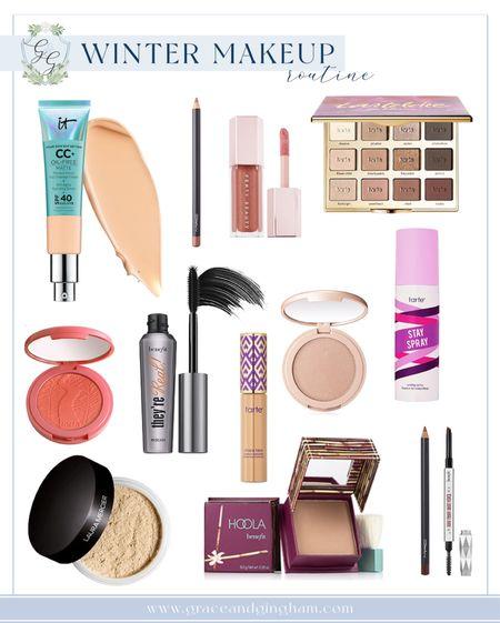 My current winter makeup routine! ✨ Shades // IT Cosmetics CC Cream: Medium Tarte Shape Tape: Light Medium Sand Tarte Blush: Blissful Tarte Highlighter: Stunner Tartelette In Bloom: Charmer (lid), Jetsetter (crease), Funny Girl (center of lid) Mac Eye Kohl: Teddy Mac Lip Pencil: Boldly Bare Fenty Gloss Bomb: Fenty Glow  #LTKbeauty #LTKunder50 #LTKNewYear