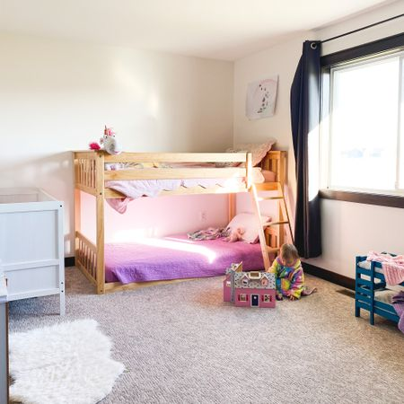 Party of Three! Here's a peek inside our girls' shared bedroom. We keep the six, four and two year old together currently. It's not Pinterest worthy by any means but it's uber functional for their sleep + play space. 😍 This shorty bunk, prime time for fort building. 🙌🏻    Follow me on the LIKEtoKNOW.it shopping app to get the product details for this look and others @liketoknow.it #liketkit @liketoknow.it.family @liketoknow.it.home #LTKkids http://liketk.it/31obn