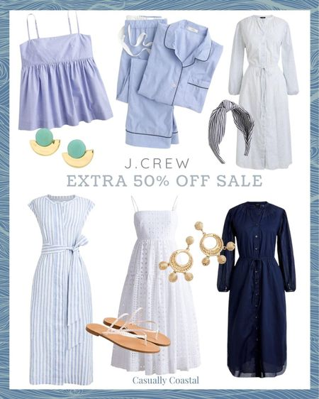 """J.Crew is having their """"end of the season"""" sale, even though there is plenty of summer left! All sale styles are currently an extra 50% off with code """"SALEONSALE"""". Tons of beautiful summer dresses, swimsuits, swimsuit cover-ups, shorts, sandals, blouses, pajamas, tank tops, sweatshirts and accessories - many of which I have featured in my previous """"Friday Favorites"""" posts. Many styles are final sale though, so be aware of that!  @liketoknow.it #liketkit #LTKsalealert #LTKworkwear #LTKunder100 http://liketk.it/3jYOS  beach style, coastal accessories, summer accessories, preppy style, beach vacation outfits, summer fashion, resort style, resort wear, beach style, beach vacation accessories, leather sandals flat, flat leather sandals, neutral sandals, brown sandals flat, flat sandals, jcrew sandals, tan sandals, summer dresses women, casual dress, casual summer dresses, vacation dresses, dresses for summer, summer dresses casual, beach vacation dresses, beach dresses, sandals under $40, sandals under $50, woven sandals, woven flip flops, jcrew flip flops, nordstrom dresses, nordstrom rack dresses, maxi dresses, blue casual dress, tank dresses, beach maxi dress, beach maxi, summer maxi dresses, braided sandals, summer sandals, neutral dress sandals, summer pajamas for women, summer pajama sets, pajama short set, summer dress, dresses on sale, affordable dresses, short sleeve dress, midi dress, sleeveless dress, dresses under 50, cotton dresses, sale dresses, dresses on sale, eyelet dress, white dresses, dresses with belt, tie waist dress, blue and white striped dress, blue and white dress, linen dresses, linen dress midi, Linen shirt dress, jcrew dresses, lightweight dresses, vneck dress, button front dress, button down dress, raffia earrings, camisole top, blue and white dress, blue and white striped dress, wedding guest dress, statement earrings"""