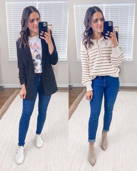 FALL ESSENTIALS: DARK WASH DENIM // a few ways to wear your dark jeans for Fall! Fit tts.   #LTKSeasonal #LTKstyletip