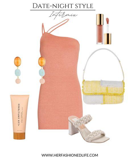 Date night dress, intermix style, self tanning lotion, braided heels, her fashioned life   #LTKunder100 #LTKSeasonal #LTKstyletip
