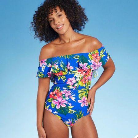 Tropical swimsuit, off the shoulder swimsuit, flounced swimsuit http://liketk.it/3iXJ3 #liketkit @liketoknow.it