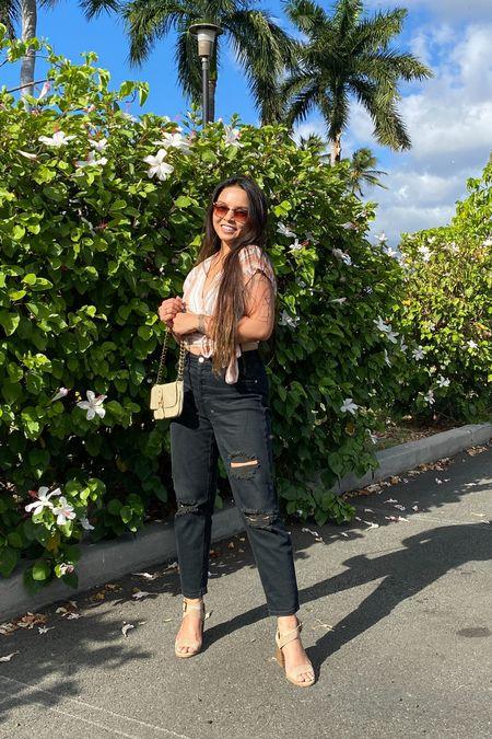 Crop blouse from Lost & Wander, Black distressed jeans from DazeDenim, tan heels, shoulder bag. Perfect to wear everyday on a summer day.   #LTKstyletip #LTKsalealert #LTKshoecrush