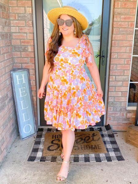 Spring dress Sundress floral bright colorful Pom Pom dress scallop Sam Edelman heels straw hat cat eye sunglasses flower statement earrings   #LTKSeasonal #LTKshoecrush #LTKtravel
