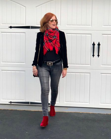 When winter accessories make the outfit 😜 Love wearing my Christmas blanket scarf 🧣 and red suede boots this time of year. What's your favorite winter accessory? Happy last week before Christmas! 🎄 Screenshot this pic to get shoppable product details with the LIKEtoKNOW.it shopping app @liketoknow.it #liketkit http://liketk.it/2IeFg
