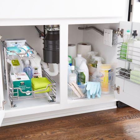 Under the sink organization, under the sink storage, cabinet organizer, kitchen organization, bathroom organization #liketkit http://liketk.it/3hYzk @liketoknow.it #LTKhome #LTKsalealert #LTKunder50