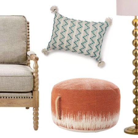 Benjamin Moore Color Palette for 2021 is INSPIRING!!! Cozy neutral twisted leg chair, crazy gorgeous upholstered ottoman, gold floor lamp, and the teal textural throw pillow are perfect for the palette. Design board dreams!  #LTKFall #LTKhome #StayHomeWithLTK