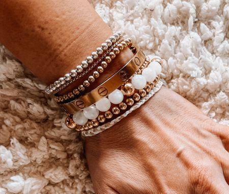 Gold bracelets, gold jewelry, bracelet stack   #LTKunder100 #LTKstyletip #LTKSeasonal