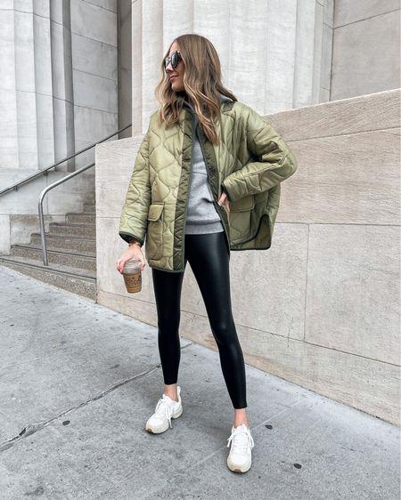 Oversized green quilted jacket (xs/s) faux leather leggings, dad sneakers #frankieshop #veja #sneakers #commando   #LTKshoecrush #LTKunder100 #LTKstyletip