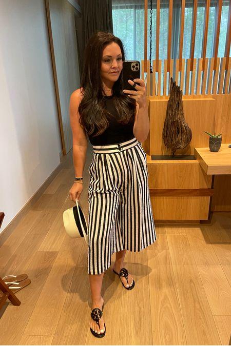 Similar Gaucho striped pants  Best black & white ribbed tanks Fedora hat Tory Burch miller's   http://liketk.it/3ijfX #liketkit @liketoknow.it amazon finds  Amazon fashion #LTKstyletip vacation look