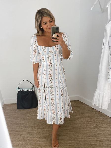 Another bridal shower or rehearsal dinner dress option! Comes in lots of colors, including solid white and runs true to size (I'm wearing a 2) @liketoknow.it http://liketk.it/3ifEH #liketkit   #LTKwedding  Bridal shower dress White dress Petite blogger  Midi dress Bridal event