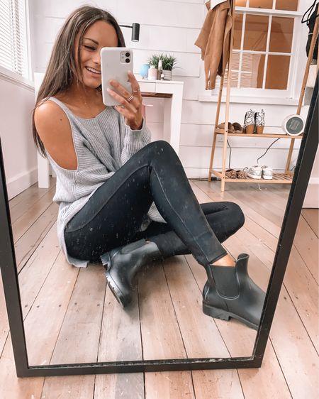 Amazon faux leather leggings - wearing a S  amazon cold shoulder sweater - wearing a S  Amazon rain boots - true to size #LTKstyletip #LTKunder50 #LTKSeasonal amazon rain outfit amazon rainy day outfit amazon leggings outfit amazon spring outfit http://liketk.it/3axxE #liketkit @liketoknow.it