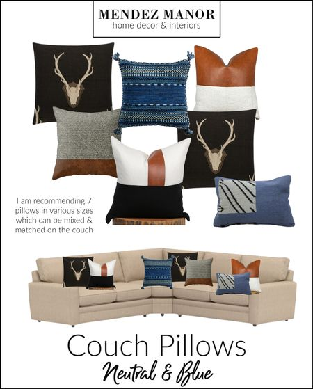 Here is the mix-match pillow combo we are doing in our Lake Arrowhead cabin project! Love this mix of neutrals and blues. 🤗 #homedepot #etsy #society6   #LTKhome