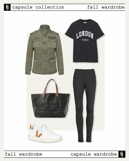 Fall capsule wardrobe! Utility jacket fall outfit idea with black leggings, graphic tshirt, and Veja sneakers. Perfect for lounging or travel   #LTKstyletip #LTKunder100 #LTKunder50