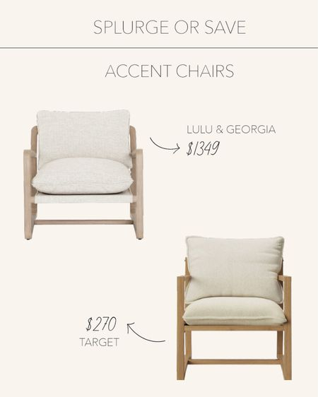 Splurge or Save   Neutral accent chairs to add seating to your living spaces 🤍   #LTKfamily #LTKstyletip #LTKhome