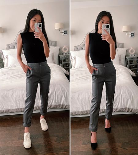how to style faux leather ankle pants // petite fall fashion  •AT faux leather pant 00 P •AT mock neck shell xxs P • Everlane sneaker 5 (left) •Azra pumps 5 (right)  #petite  #LTKworkwear #LTKSeasonal #LTKshoecrush