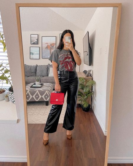 Get 15% off SHEIN with my discount code: Q3YGJESS  Get 10% off Awe Inspired Jewelry with code: JESSICAMELGOZA_10  leather pants, leopard heels, graphic tee, red satchel bag, gold jewelry, fall outfits, fall style, fall outfit inspo, fall outfit ideas   #LTKunder50 #LTKshoecrush #LTKitbag
